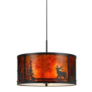 Deer Mica Bronze Metal 60-watt 3-light Fixture