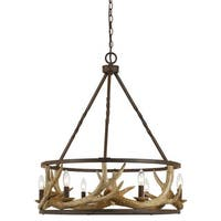 Oxidized-finished Steel 60-watt 6-light Antler Chandelier - Bronze/Brown