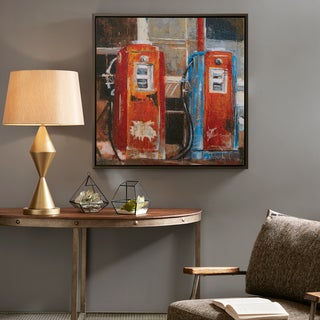 INK IVY Gas Pumps Multi Gel Coat and Hand Embellished Canvas