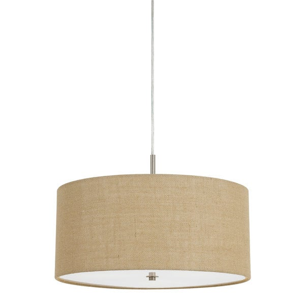 Addison Iron 60-watt 3-light Drum Pendant Light Fixture With Beige Burlap Shade