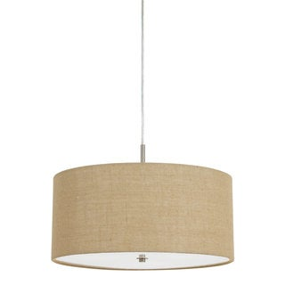 Addison Iron 60-watt 3-light Drum Pendant Light Fixture With Beige Burlap Shade