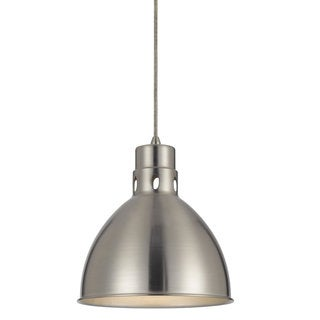 Webster Brushed-steel-finished Metal 150-watt 1-light Pendant Light Fixture With Silver Shade