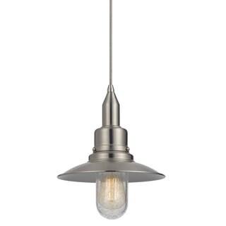Brushed Steel Glass Medium Base Pendant Light