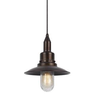 Paterson Oxidized-finished Metal 60-watt 1-light Pendant Light Fixture With Orange Shade