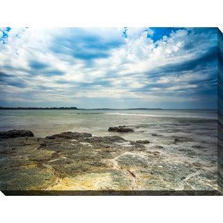 """""""Ocean Rocks"""" Giclee Print Canvas Wall Art - blue/brown/white"""