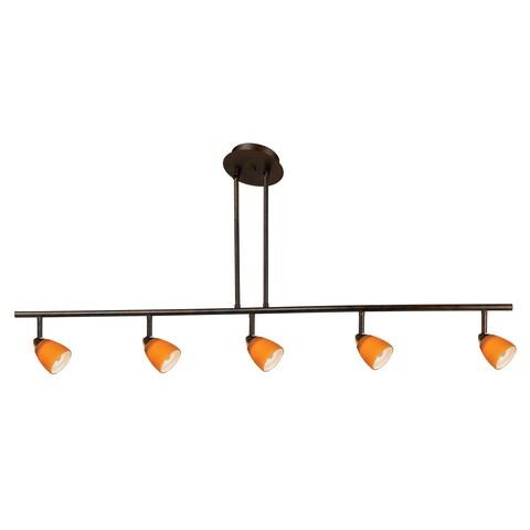 Orbit Orange/Brown Metal 5-light Industrial Fixture
