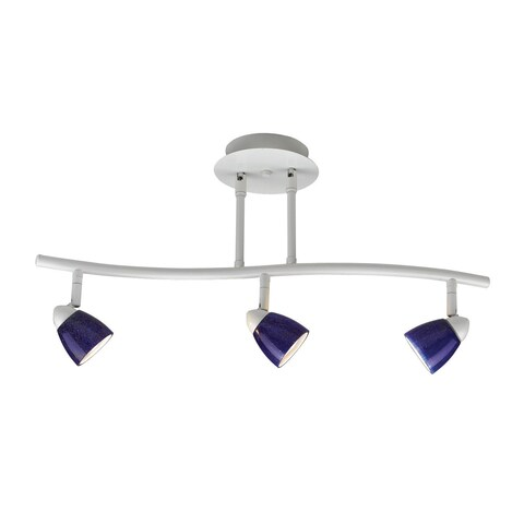 Serpentine White Finish Blue Shade 3-light Track Lighting