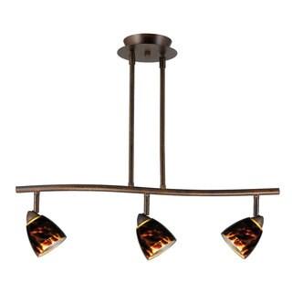 Serpentine Brown Metal 3-light Hanging Track Fixture