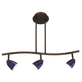 Serpentine Blue/Brown Metal 3-light Fixture with Bulbs