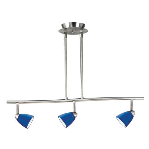 Serpentine Silver and Blue Metal 3-light Track Lighting