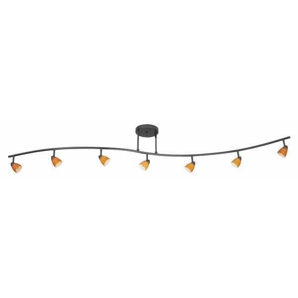 Serpentine Yellow/Brown Metal 7-light Track-style Fixture