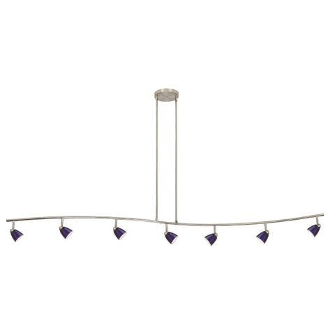 Serpentine Blue/Silver Metal 7-light Track-style Fixture