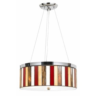 Red and Clear Glass Chrome-finish 3-light 60-watt Tiffany-style Pendant Fixture