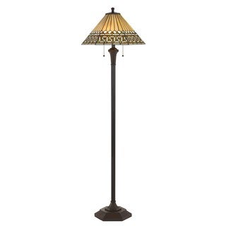 Tiffany-style Black and Yellow Glass/ Metal Floor Lamp