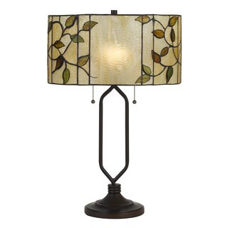 Black and Off-white Glass 2-light 60-watt Tiffany-style Table Lamp