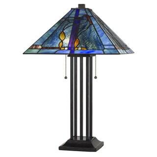 Tiffany-style Blue Glass Black Base 2-light 60-watt Table Lamp