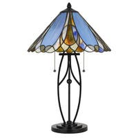 Tiffany Style Blue and Black Stained Glass and Copper Foil 60-watt 2-light Table Lamp