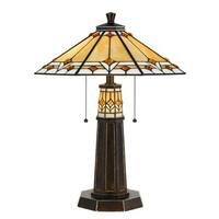 Bronze Finish Metal Glass Tiffany Style Table Lamp