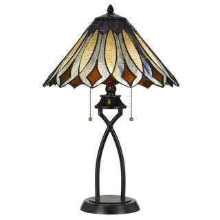 Bronze and Multicolor Glass 2-light 60-watt Tiffany-style Table Lamp