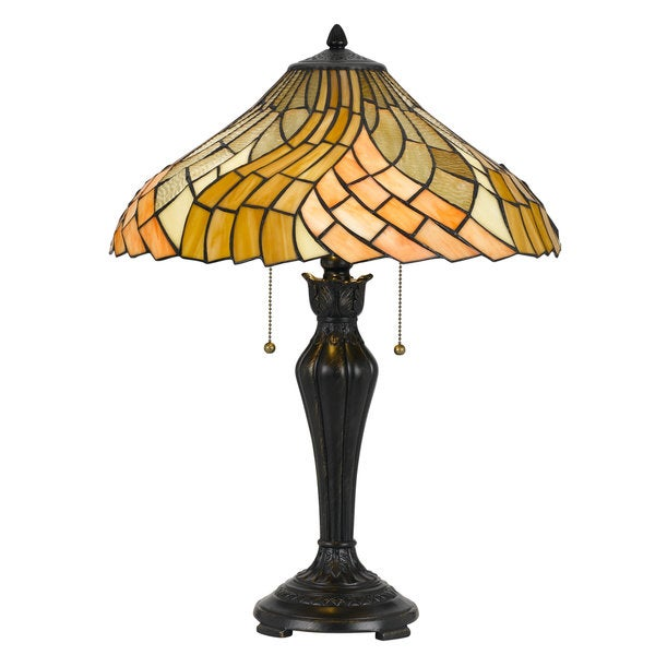 Yellow and Brown Glass Bronze-finish 2-light 60-watt Tiffany Style Table Lamp