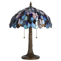 Antique Brass Glass Cast Metal Tiffany Style Lamp