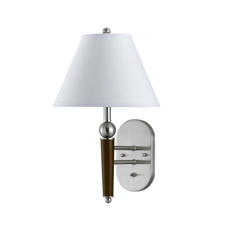 White/Silver Metal Wall Lamp with Rocker Switch