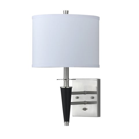 White Metal Wood Hardwired Wall Sconce