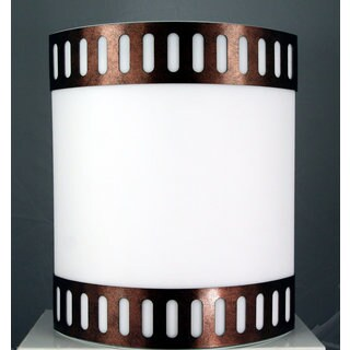 White/Brown Metal/Acrylic Cylindrical Wall Lamp