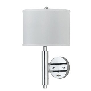 Chrome Finished Metal White Shade Wall Sconce