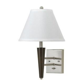 brushed steel and wood 60watt wall lamp