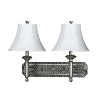 Pineapple Antique Silver-tone Metal and Resin 2-light 60-watt Hotel Wall Lamp
