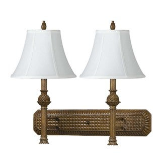 Brown Resin and Metal 60-watt 2-light Fixed Arm Wall Lamp