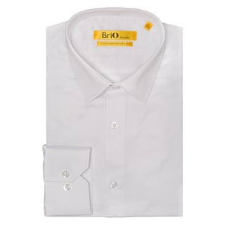 Brio Men's White Solid Button Down Dress Shirt