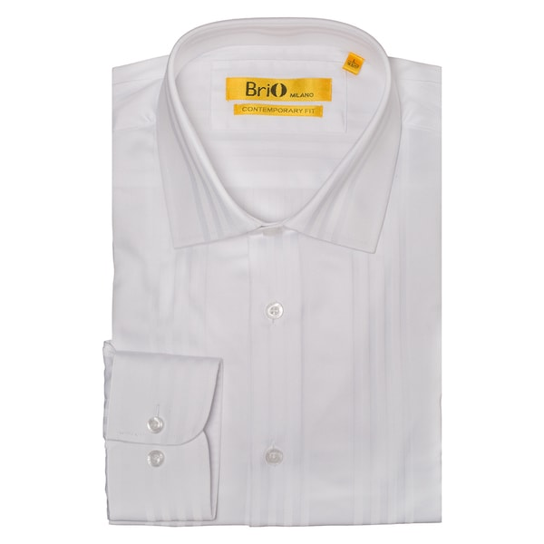 Shop Brio Men s White Solid Stripe Button Down Dress Shirt - Free Shipping  Today - Overstock.com - 13743083 11d2463c1707
