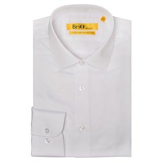 Brio Men's White Mini Checkered Dress Shirt