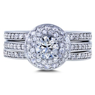 Annello by Kobelli 14k White Gold 1 1/3ct TDW Diamond Dome Double Halo 3-Ring Bridal Set