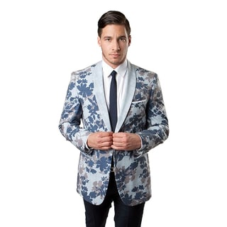 Tazio Men's Blue Polyester and Viscose Leaf-pattern Slim-fit Sport Coat