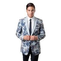 Tazio Men's Blue Polyester and Viscose Leaf-pattern Slim-fit Sport Coat