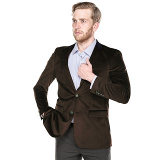 Verno Men's Brown Velvet Classic-fit Blazer With Contrasting Collar and Metal Buttons