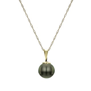 """DaVonna 14k Yellow Gold Black 10-10.5 mm Freshwater High Luster Pearl Pendant Necklace 18"""""""