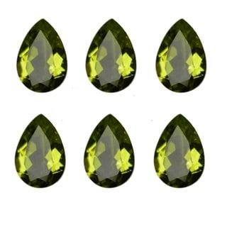 Natural 10x7mm Pear-cut 15.44ctw Peridot Gemstone (Set of 8)