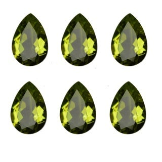 Natural 10x7mm Pear-cut 15.44ctw Peridot Gemstone (Set of 8)