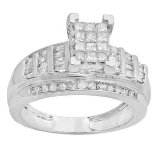 10k White Gold 7/8ct TDW Princess, Round, and Baguette-cut Diamond Bridal Engagement Ring (H-I, I1-I2)