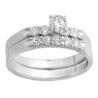14k White Gold 3/4ct TDW Round Diamond 5-stone Bridal Ring Set (H-I, I1-I2)