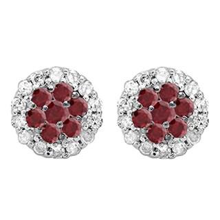 10k White Gold 1/3ct TW Ruby and White Diamond Cluster Flower Stud Earrings (I-J, I1-I2 )
