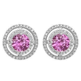 14k White Gold 1 1/6ct TW Round-cut Pink Sapphire and Diamond Halo Style Stud Earrings (I-J, I2-I3 )