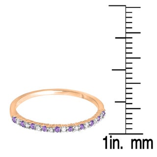 10k Gold 1/6ct TW Round Amethyst and White Diamond Wedding Stackable Ring (I-J, I2-I3)