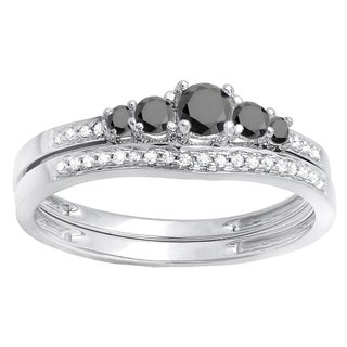 14k White Gold 3/8ct TDW Round Black and White Diamond 5-stone Bridal Ring Set (H-I, I1-I2)