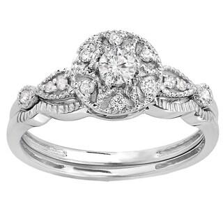 14k White Gold 1/3ct TDW Round-cut Diamond Bridal Band Set