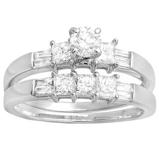 14k Gold 1ct TDW Multi-cut Diamond Bridal Ring Set (H-I, I1-I2)